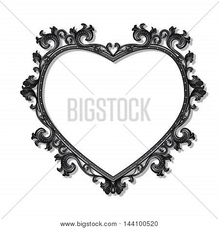 frame in the shape of heart for picture or photo with shadow on white background