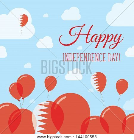 Bahrain Independence Day Flat Patriotic Design. Bahraini Flag Balloons. Happy National Day Vector Ca