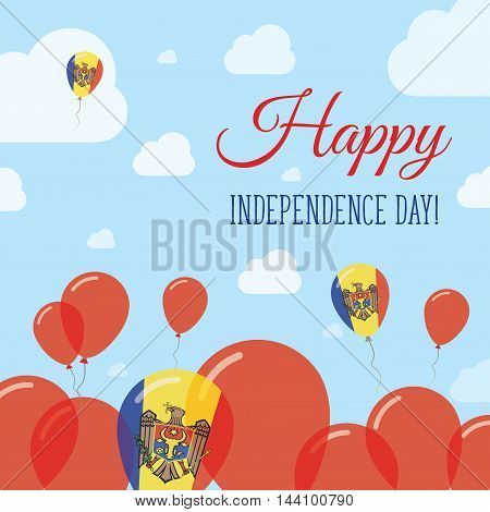 Moldova, Republic Of Independence Day Flat Patriotic Design. Moldovan Flag Balloons. Happy National