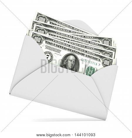 Dollars in envelope. 3D render illustration isolated on white background