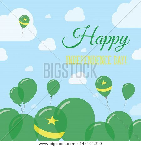 Mauritania Independence Day Flat Patriotic Design. Mauritanian Flag Balloons. Happy National Day Vec