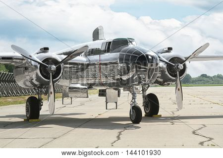 PARDUBICE CZECH REPUBLIC - 29 May 2016: Aircraft B-25 Mitchell in aviation fair and century air combats Pardubice Czech Republic on 29 May 2016