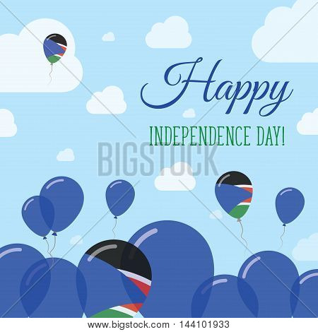 South Sudan Independence Day Flat Patriotic Design. South Sudanese Flag Balloons. Happy National Day