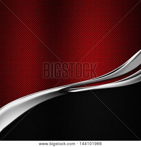 black and red carbon fiber and curve chromium frame. metal background. material design. 3d illustration.