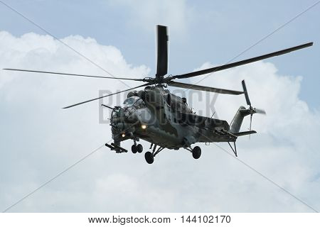 PARDUBICE CZECH REPUBLIC - 29 May 2016: Helicopter Mi 24 in aviation fair and century air combats Pardubice Czech Republic on 29 May 2016