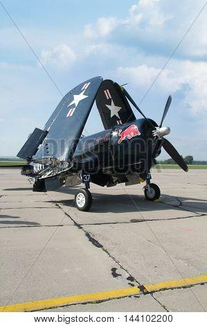 PARDUBICE CZECH REPUBLIC - 29 May 2016: Aircraft F4U Corsair aircraf in aviation fair and century air combats Pardubice Czech Republic on 29 May 2016