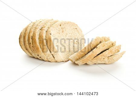 Delicious home-made whole wheat bread. Sliced. Isolated