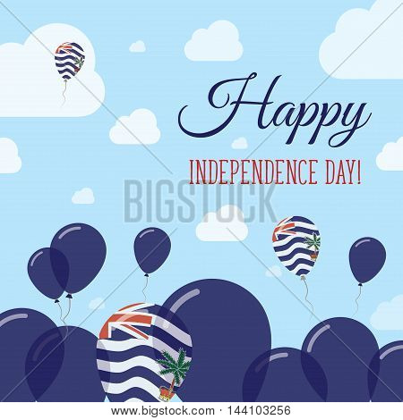British Indian Ocean Territory Independence Day Flat Patriotic Design. Indian Flag Balloons. Happy N