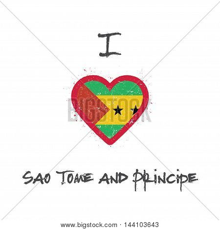I Love Sao Tome And Principe T-shirt Design. Sao Tomean Flag In The Shape Of Heart On White Backgrou