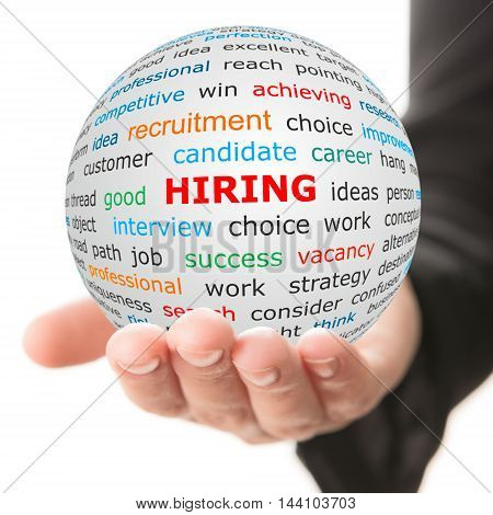Hiring concept. Hand take white ball with wordcloud and hiring word in red color.