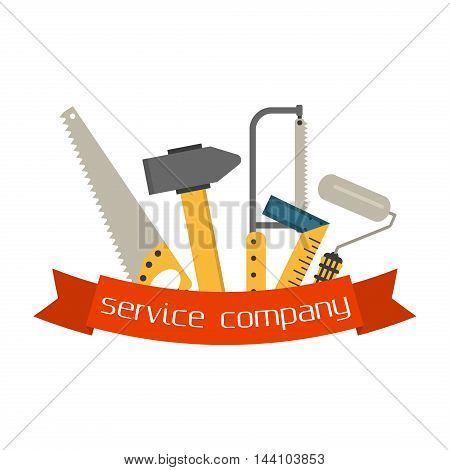 Set of flat construction tools vector equipment tool. Carpenter working table construction tools. Carpentry instrument spanner and woodwork industry flat lay concept construction tools hammer work.