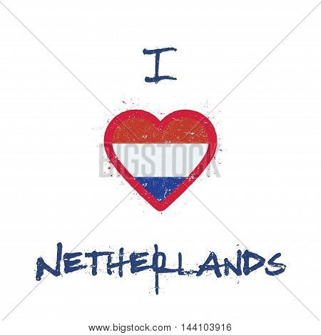 I Love Netherlands T-shirt Design. Dutch Flag In The Shape Of Heart On White Background. Grunge Vect