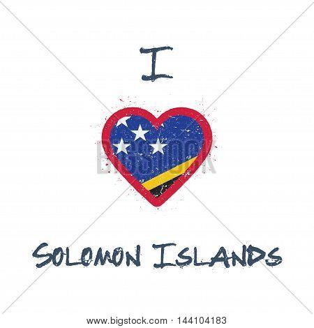 I Love Solomon Islands T-shirt Design. Solomon Islander Flag In The Shape Of Heart On White Backgrou