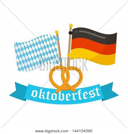 Germany and Bavaria flags vector icon. Oktoberfest flags germany bavaria white and blue symbol country banner. Color pattern textile design Oktoberfest flags waving national germany bavaria sign