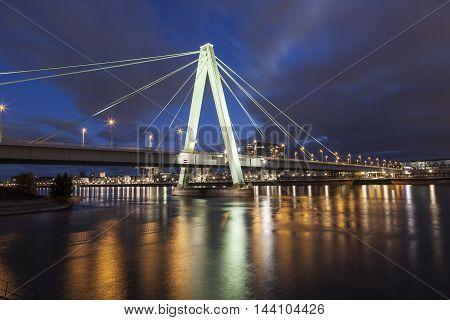The Severin bridge over Rhine River in Cologne illuminated at night. North Rhine-Westphalia Germany