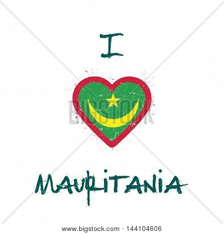 I Love Mauritania T-shirt Design. Mauritanian Flag In The Shape Of Heart On White Background. Grunge