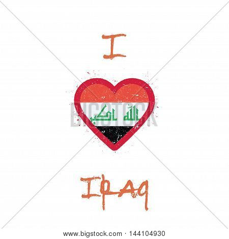 I Love Iraq T-shirt Design. Iraqi Flag In The Shape Of Heart On White Background. Grunge Vector Illu