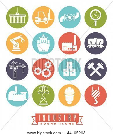Industry icon set. Collection of 16 colored round industry themed vector icons
