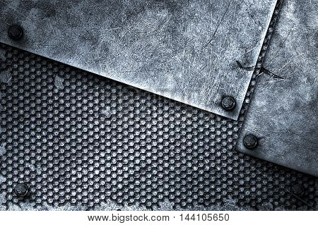grunge metal background. rivet on metal plate and black grille. material design 3d illustration.