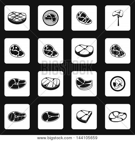 Steak icons set in simple style. Meat set collection vector illustration
