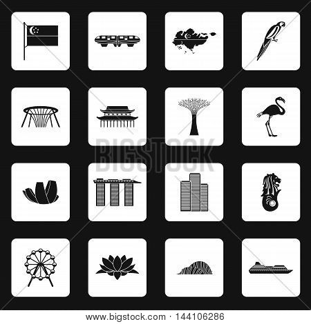 Singapore icons set in simple style. Singapore attractions set collection vector illustration