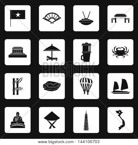 Vietnam icons set in simple style. Vietnam tourist attractions set collection vector illustration