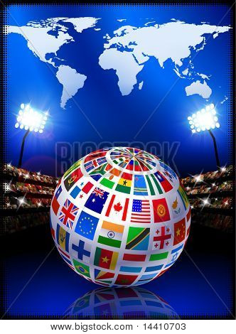 Flag Globe with World Map on Stadium Background Original Illustration