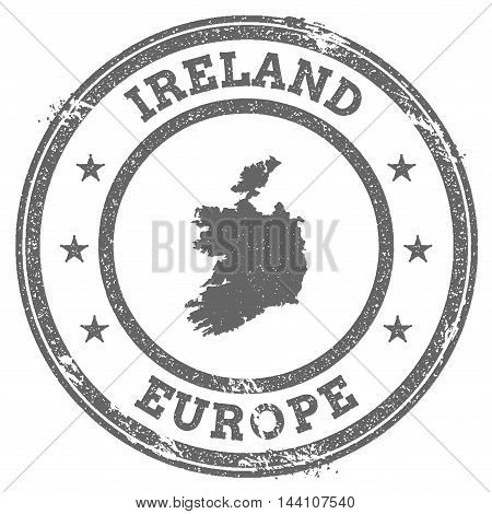 Ireland Grunge Rubber Stamp Map And Text. Round Textured Country Stamp With Map Outline. Vector Illu