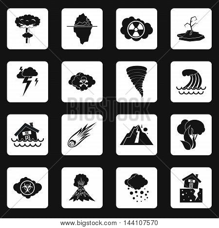 Natural disaster icons set in simple style. Catastrophes and crisis set collection vector illustration