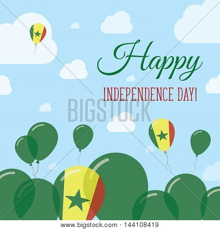 Senegal Independence Day Flat Patriotic Design. Senegalese Flag Balloons. Happy National Day Vector