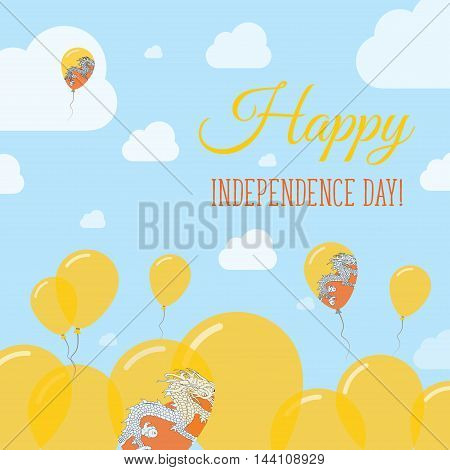 Bhutan Independence Day Flat Patriotic Design. Bhutanese Flag Balloons. Happy National Day Vector Ca
