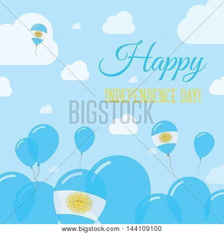 Argentina Independence Day Flat Patriotic Design. Argentinean Flag Balloons. Happy National Day Vect