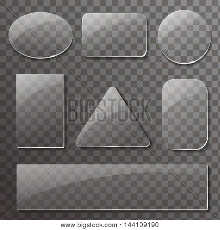 Glass transparent plates set. Vector rectangular and round buttons on checkered background