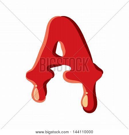 A letter isolated on white background. Red bloody A letter vector illustration