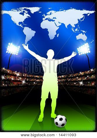 Soccer Player with World Map on Stadium Background Original Illustration