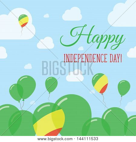 Congo Independence Day Flat Patriotic Design. Congolese Flag Balloons. Happy National Day Vector Car