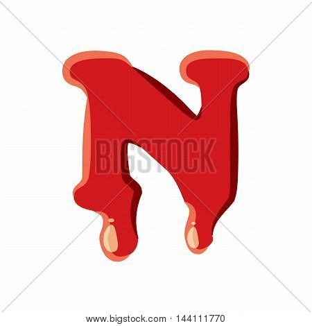 N letter isolated on white background. Red bloody N letter vector illustration