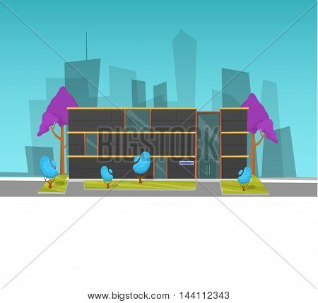 Modern house. Colorful flat illustration. Stock vector