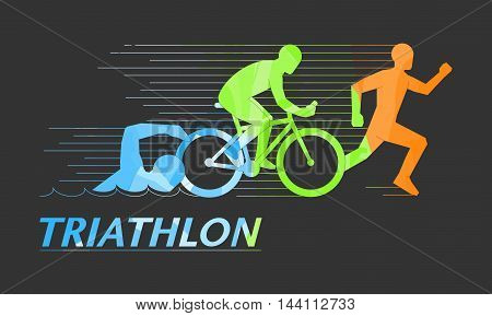 Cool vector symbol for triathlon. Stylish logo for triathlon on black background.