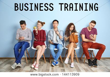 Business training concept. Group of people waiting indoors