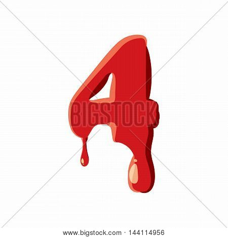 Four number isolated on white background. Red bloody four number vector illustration