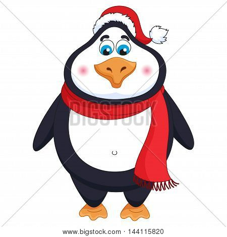 New Year's cheerful cute penguin in winter red hat and scarf, fat birdie standing, funny character for child books, vector illustration