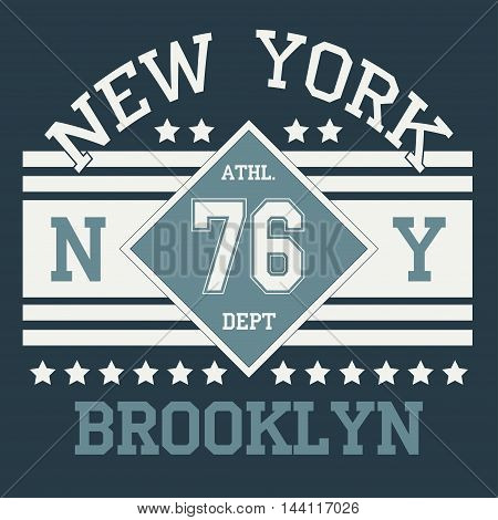 New york Brooklyn sport typography t-shirt. New york College fashion design print for t-shirt. Brooklyn T-shirt Printing Design, original wear,  sportswear apparel - vector