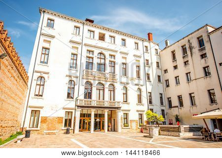 Venice, Italy - May 18, 2016: Main facade of Foscari university of Venice in Dorsoduro region in Venice