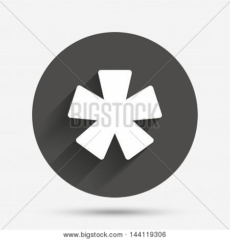Asterisk footnote sign icon. Star note symbol for more information. Circle flat button with shadow. Vector
