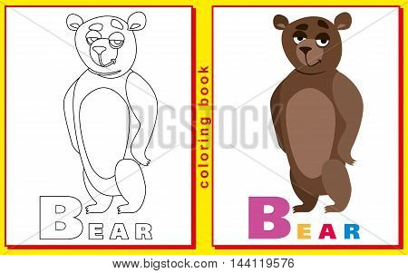 children's coloring book with letters and words. letter B. Bear. vector image.