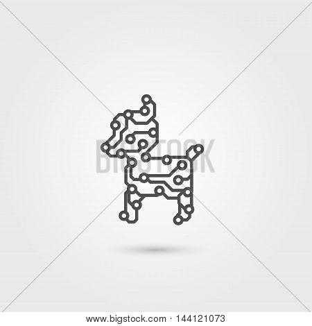 Vector robot dog. Electronic circuit board  pet