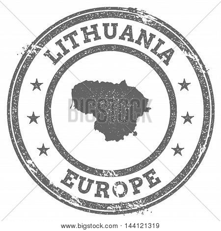 Lithuania Grunge Rubber Stamp Map And Text. Round Textured Country Stamp With Map Outline. Vector Il