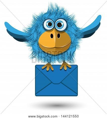 Illustration of Blue Bird with a blue envelope