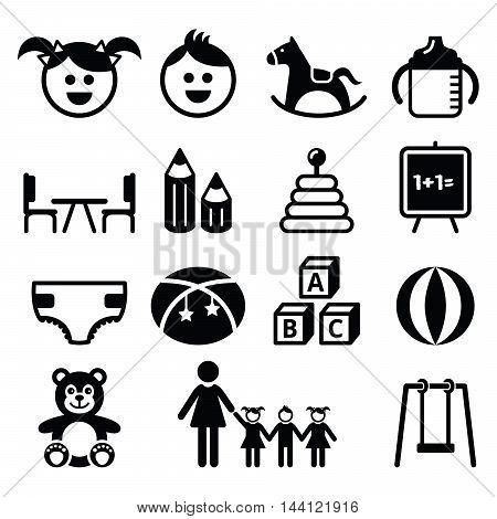 Kindergarten, nursery, preschool, creche vector  icons set